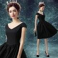 Vestido De Fiesta negro corto Formal Vestidos de baile vestido de Noche 2016 de la Nueva Llegada v Robe De Soirée Abendkleider Vestidos de Fiesta