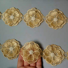 10x Gold Pearl Handmade Beaded Flower Embroidered Lace Edge Trim Ribbon Double Layered Applique Dress DIY Sewing Craft New