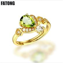 Fashion New 925 Silver Peridot Adjustable Ring Women. J043