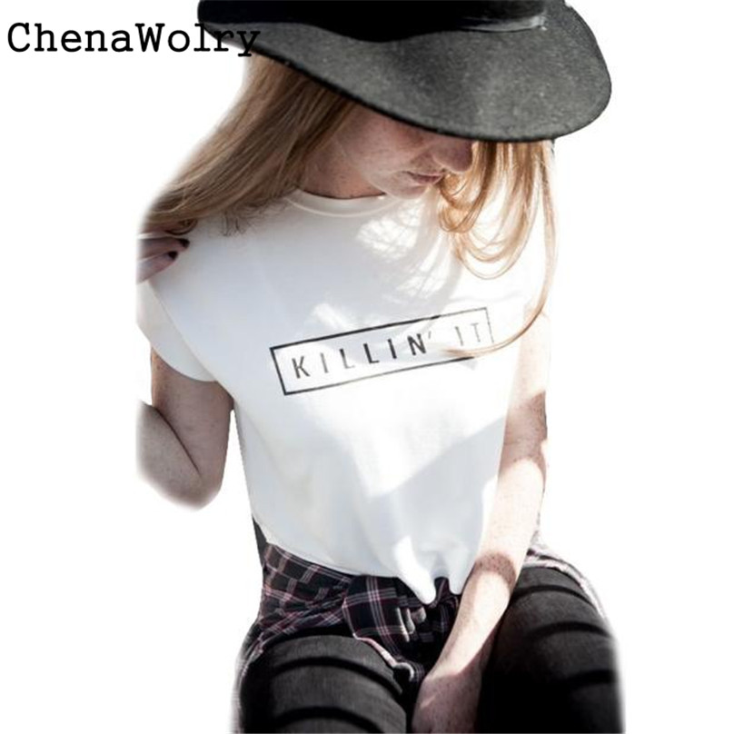 ChenaWolry 1PC Hot Sales Attractive Luxury Women Summer Round Neck Letter Printing Short Sleeve Cotton Tops T-Shirt #TY4040