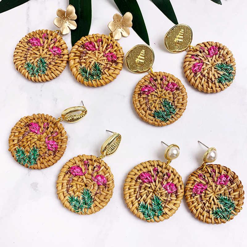 เกาหลี Handmade ไม้ฟางสานหวาย Braid Drop ต่างหู Vintage Geometric gold สีดอกไม้ pearl ต่างหูยาวผู้หญิง