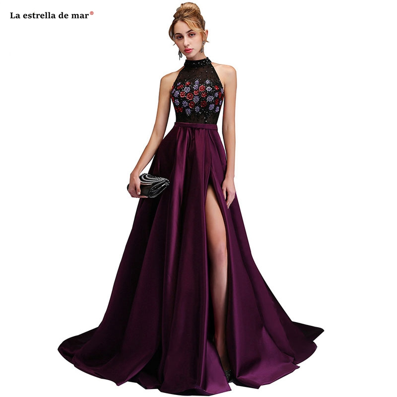 Robe bal de promo2019 new high neck crystal high slit A Line purple   prom     dress   long luxury vestido formatura custom African   prom