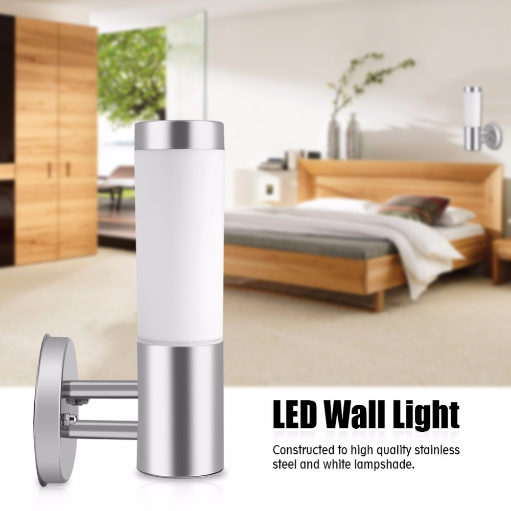 220V Wall Lamps LED Bedroom Wall Lights Luminaria Sconce Stainless Steel Lighting Fixture Waterproof Outdoor Lamp