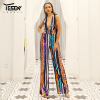 Yesexy 2019 Sexy Deep V Off Shoulder Multi Color Sequin Backless Striped Rompers Elegant Party Jumpsuit VR18932