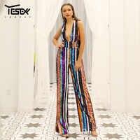 Yesexy 2020 Sexy V profond épaules dénudées Multi couleur Sequin dos nu rayé barboteuses élégant fête combinaison VR18932