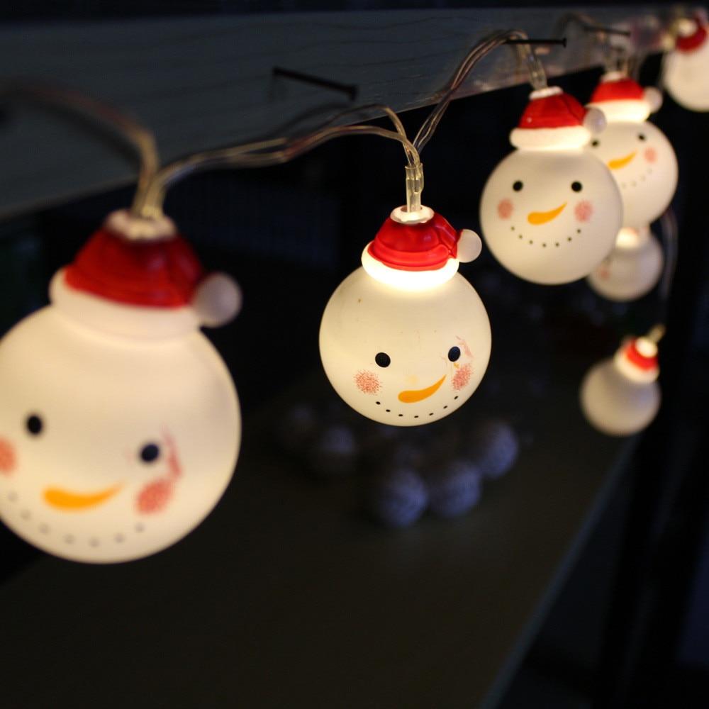 10 LED Outdoor String Light Garden Christmas Snow Head Party Fairy Lamp Xmas Ornaments Ball Led Lights For Home Cristmas Noel