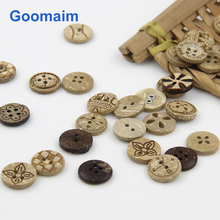 100pcs fashion natural color coconut buttons for jeans sewing shirt 4 holes knitwear children clothing