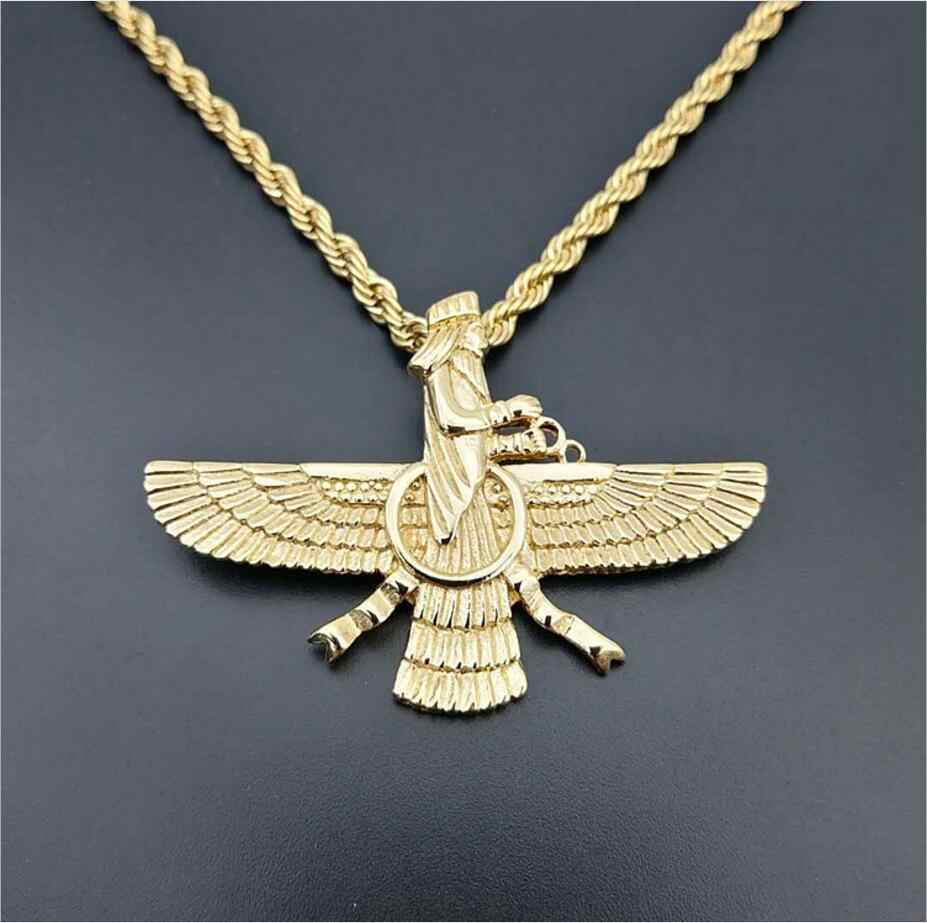 2018 New Men Hip hop Iran Faravahar Ahura Mazda Pendant necklaces fashion vintage Zoroastrian Necklace Male Hiphop jewelry gifts