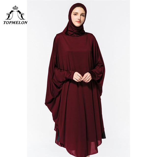 TOPMELON Abaya Hijab Dress Silky Long Solid Robes for Women Islamic Turkish Dress Headscarf