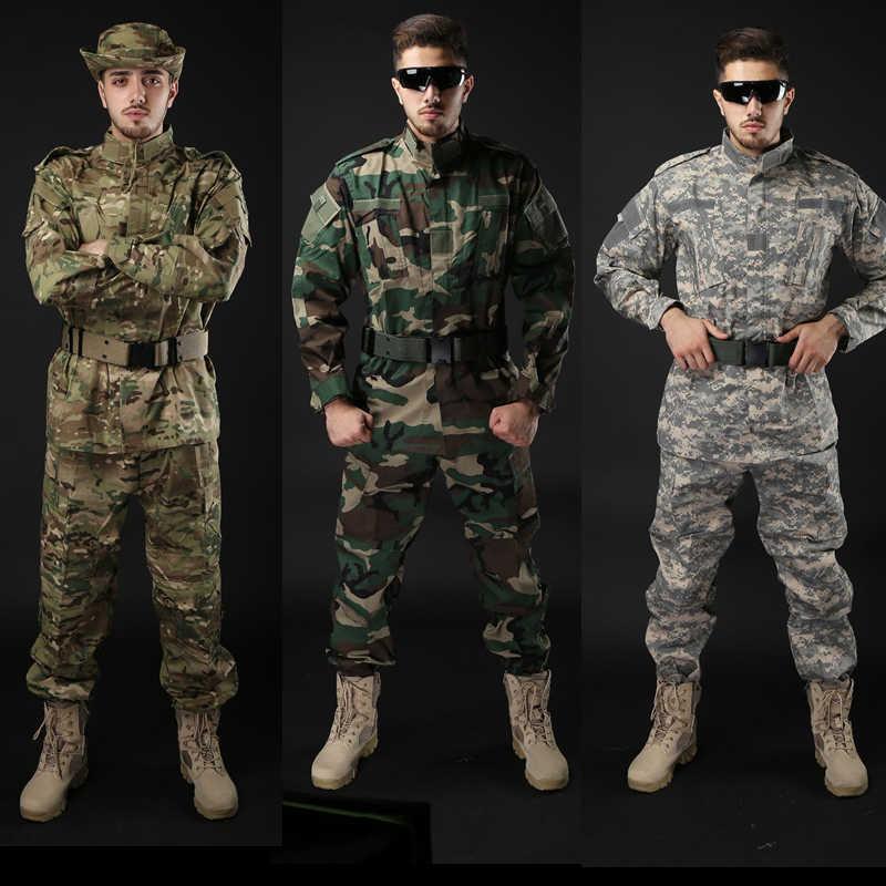 Exército militar tático uniforme camisa + calças camo camuflagem acu fg combate uniforme do exército dos eua roupas masculinas terno airsoft caça