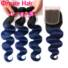 Ornate Ombre Body Wave Human Hair Bundle With Closure Colored Malaysian Lace Non Remy