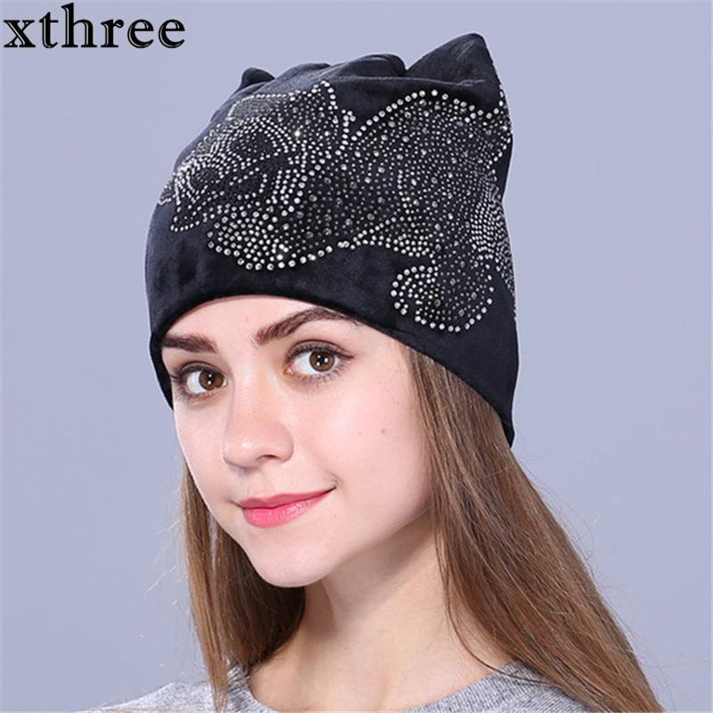 Xthree милый Рейн Стоун Китти Flannelette Осень зима шапка для женщин девочек шапочки Skullies gorras