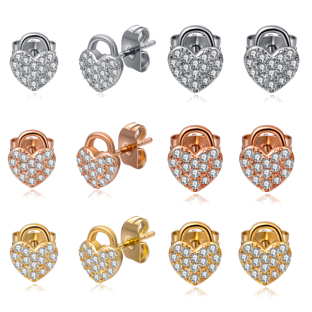 Love <font><b>Heart</b></font> <font><b>Lock</b></font> Dazzling Zircon Stud <font><b>Earrings</b></font> For Women Fit Brand <font><b>Earrings</b></font> Valentines Day Gift Wedding Jewelry image