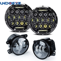 2pcs 7Inch 75w Black Round LED Headlight With DRL Hi Lo Beam Headlamps A Pair 4