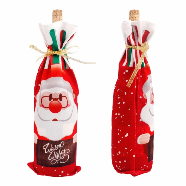 Colorful Christmas Themed Wine Bottle Cover
