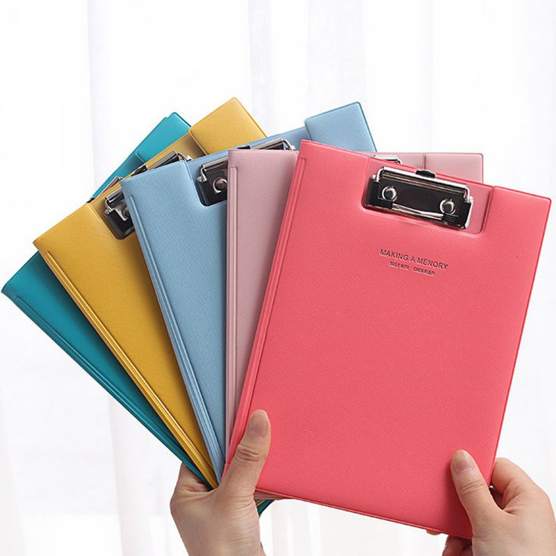 Coloffice 1PC Candy Color A5 PU Straight Plywood Fashion Signed Clipboard Fold-Over Kawaii WordPad Vertical Writting Board