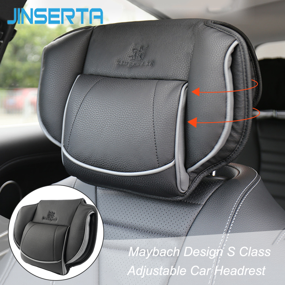 JINSERTA May Bach Design S Class Headrest Neck Pillow Adjustable Head Restraint Comfortable Leather Pillow For Universal Car