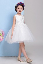 2-10T Flower Girl White Lace Graduation Dresses Bridesmaid Kids Pageant Evening Wedding Gowns Party Frocks Appliques Dress 2016