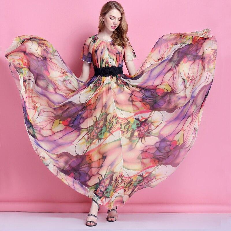 Robe longue en mousseline de soie imprimée florale colorée longue robe longue de mariage de plage libre et lâche avec des manches
