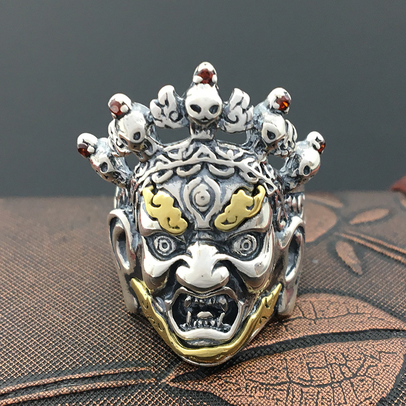 S925 Thailand exquisite sterling silver jewelry silver Punk Skull Ring Inuyasha ghost retro personality s925 sterling silver skull ring metrosexual officers personality of world war ii punk man retro silver ring opening