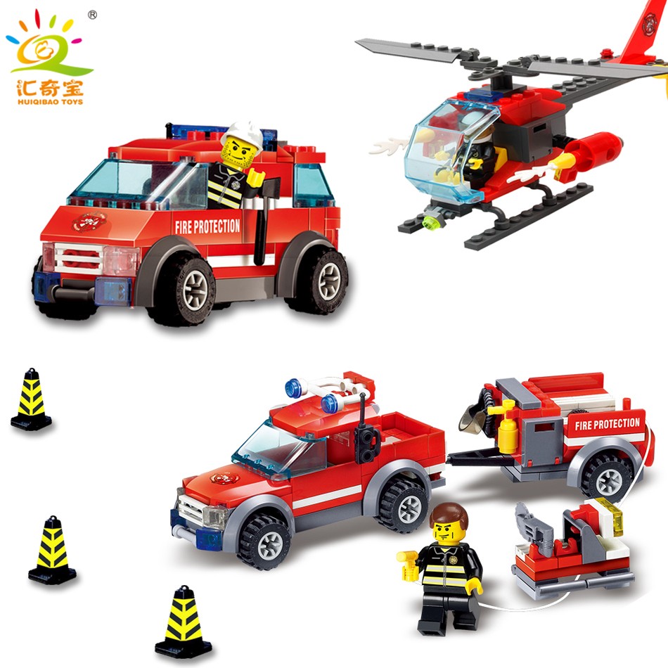 Fire Station Parts Helicopter Trucks Car Building Blocks Bricks Compatible Legoe City Firefighter Figures Toys For Children Kids kazi 8052 city fire station 300pcs building blocks compatible all brand city truck model bricks firefighter toys for children