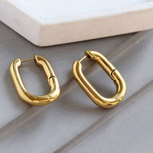 цена на SRCOI New Simple Design Geometric Rectangular Lock Buckle Gold Color Metal Brass Oval Hoop Earrings For Women Party Punk Jewelry