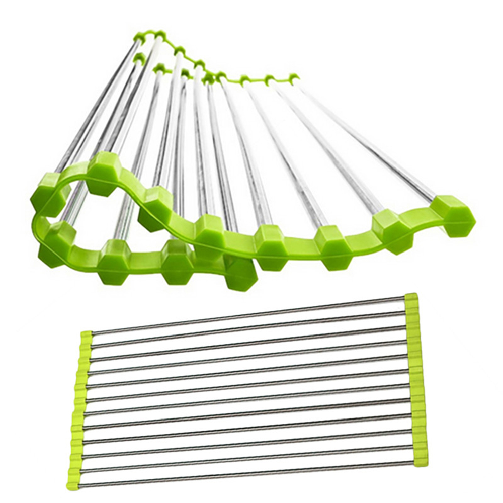 Foldable Stainless Steel Kitchen Sink Roller Drainer Tray Roll Mat Rack  Holder On Aliexpress.com | Alibaba Group
