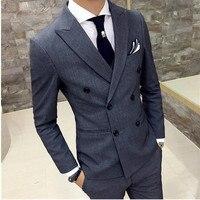 Fashion classic men's suit British style black lapel double breasted men's business suit (jacket + pants) custom made