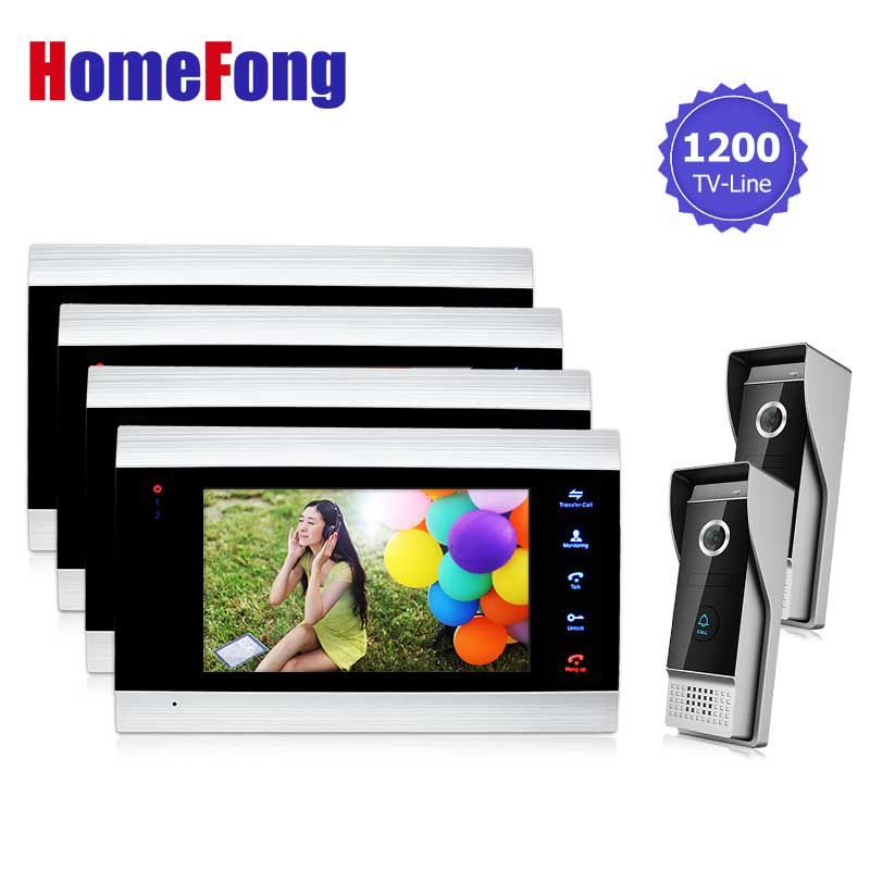 Homefong провод Звонок домофона видеомонитор Системы 2V4 для Вилла время Регулируемый Цвет домофон Камера двойной способ говорить
