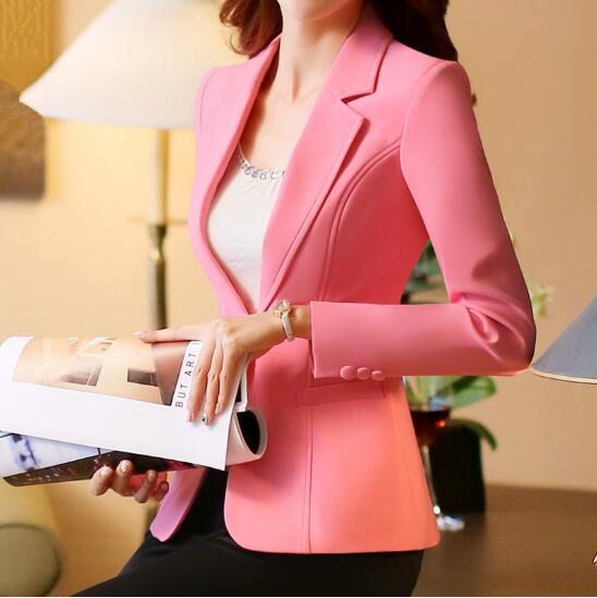 Plus Size 4XL Spring Jacket Female Coats Blazer Feminino Long Sleeve One Button Women Small Suit Jackets Office Blazers