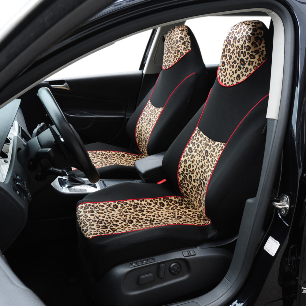 AUTOYOUTH 1PCS Leopard Animal Print Integrated High Back Bucket Seat Cover Universal Fit Most Car Seat Cover Interior Accessorie 1