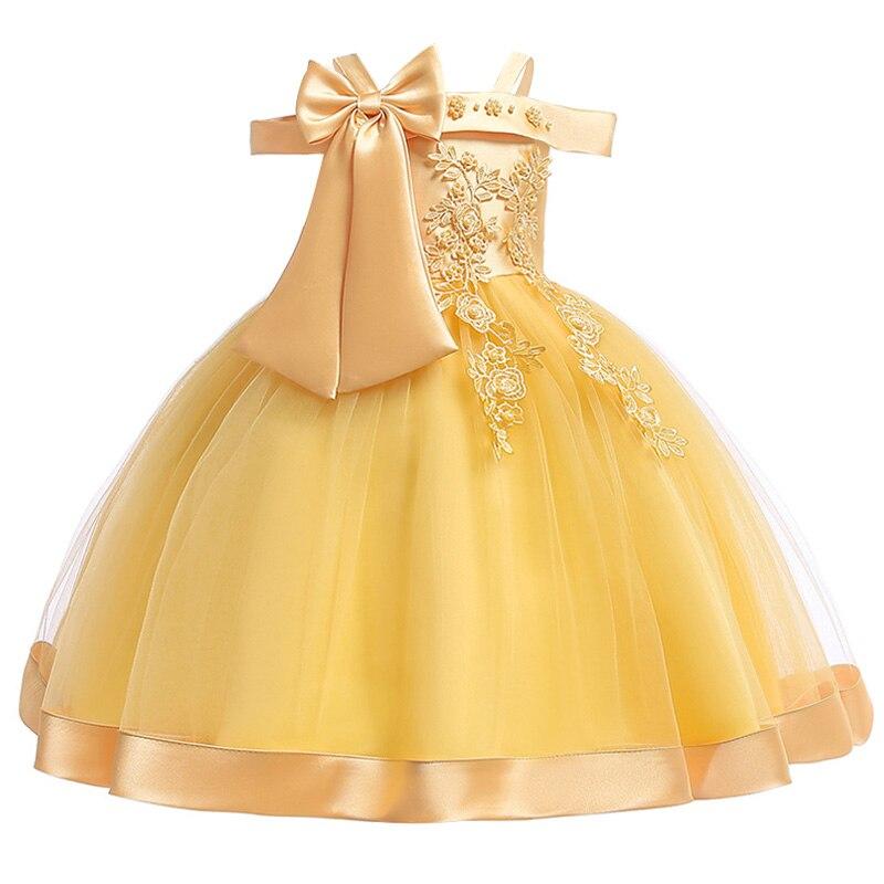 Новинка; платье принцессы для дня рождения, банкета, банкета, с бретельками; кружевное платье с цветочным узором для девочек на свадьбу; праздничное платье с рукавами; vestidos - Цвет: yellow
