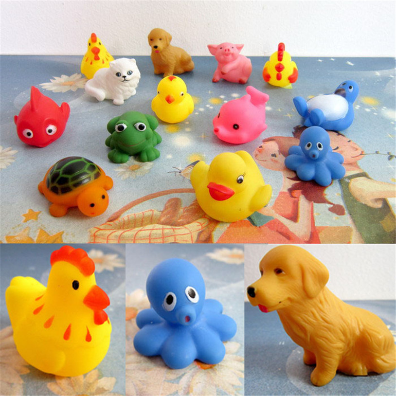 One Dozen 13pcs Rubber Animals With Sound Baby Shower Party Favors Toy Just for you Bathing Swimming Play Gags & Practical Joke