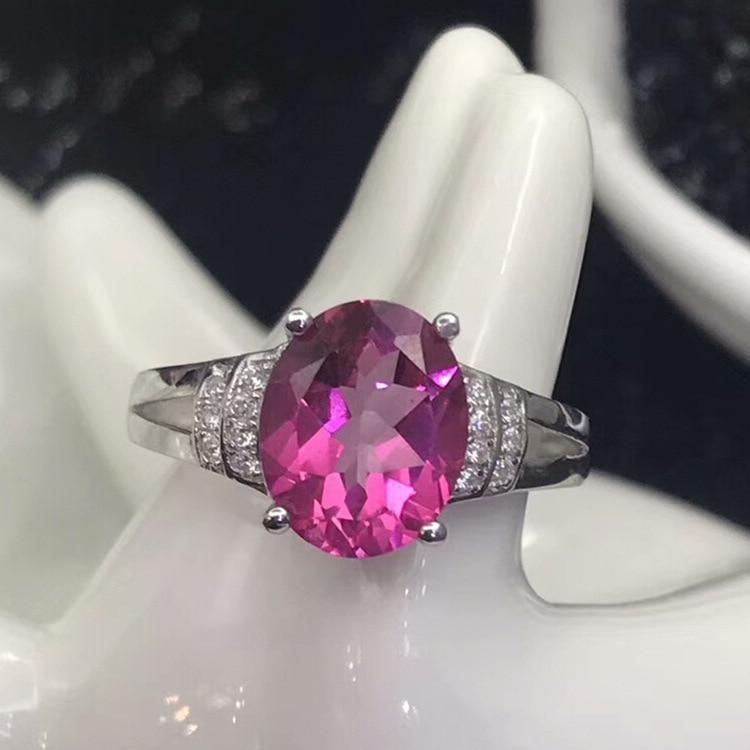 Regalo di anniversario di matrimonio s925 argento intarsiato anello topazio naturale per la QING