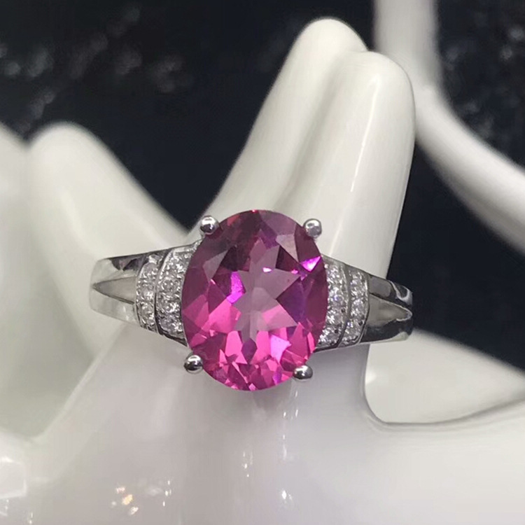 Wedding anniversary gift s925 silver inlaid natural topaz ring for QING