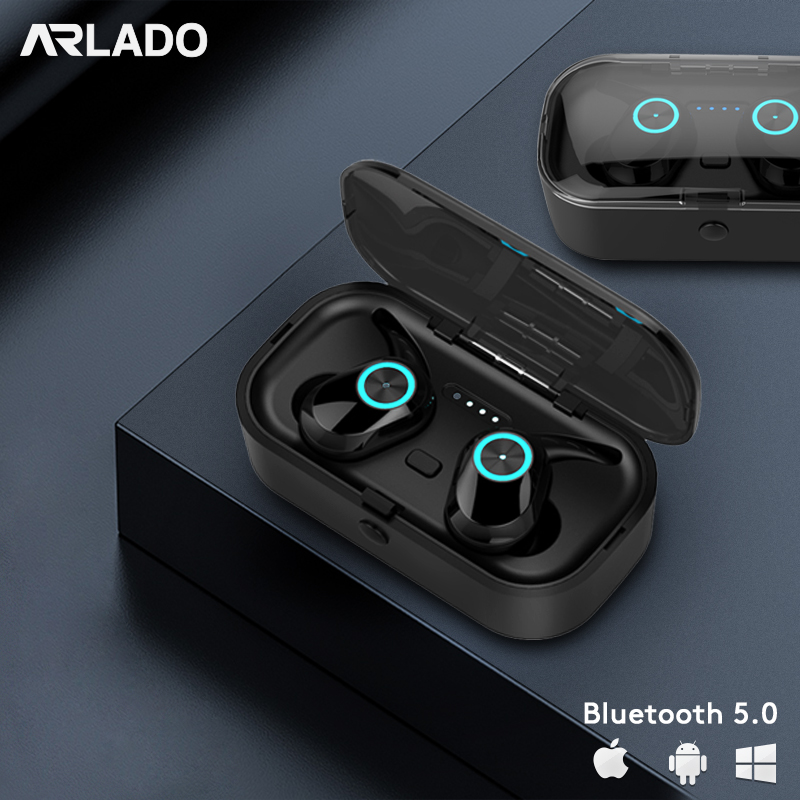 Arlado T1 Pods TWS Wireless Earphones Bluetooth V5.0 Headset Button Control Noise Reduction Earbuds With Charging box Earpiece
