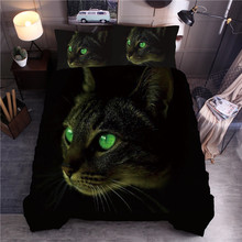 3D Cat Printing Bedding Set Animal Duvet Cover Pillowcase Queen King Quilt 2/3pcs (No Filling No Sheet)