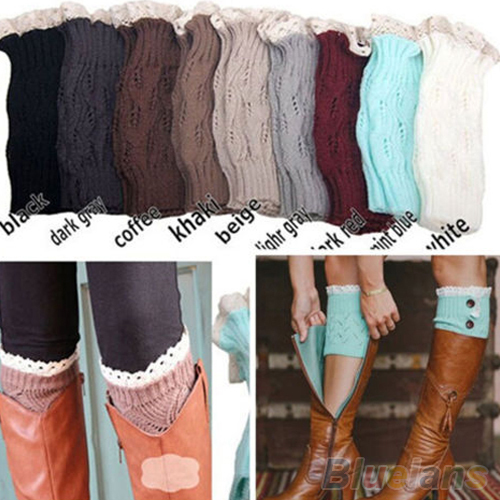 New Women's Crochet Knitted Lace Trim Toppers Cuffs Liner Leg Warmers Boot Socks  1SCI 23DH 7FNY