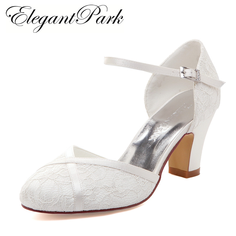 Woman Shoes Mid Block Heel Wedding Bridal White Ivory Closed Toe Comfort lace satin Buckle Bride