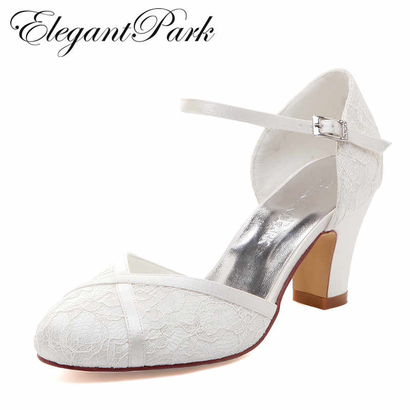 Woman Shoes Mid Block Heel Wedding Bridal White Ivory Closed Toe Comfort  lace satin Buckle Bride d8818eeda627