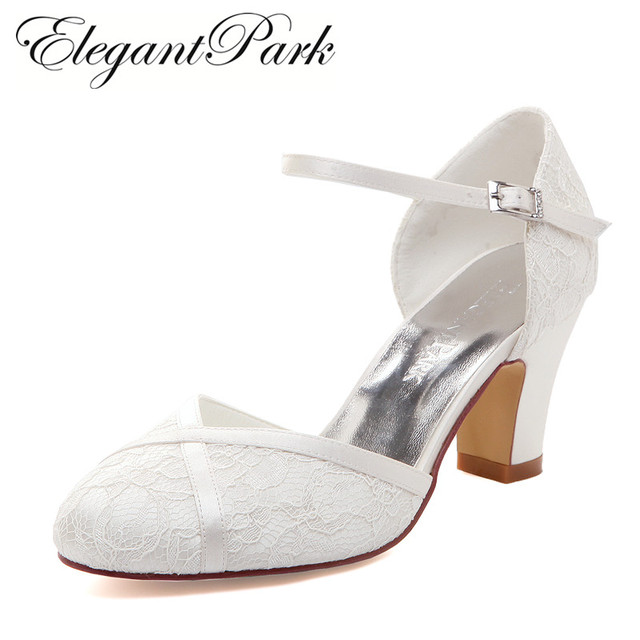 de204b0c3d8 Woman Shoes Mid Block Heel Wedding Bridal White Ivory Closed Toe Comfort  lace satin Buckle Bride Lady Prom Party Pumps HC1802