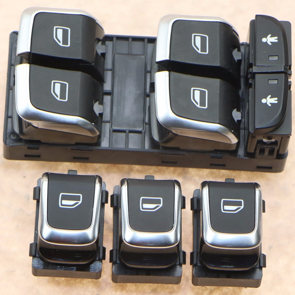 Conjunto de 1 Chrome Mestre Janela Elétrica Interruptores Para A6 S6 C7 Allroad A7 4GD 959 851 B 4G0959851 4GD959855 4GD959851B 8KD959855