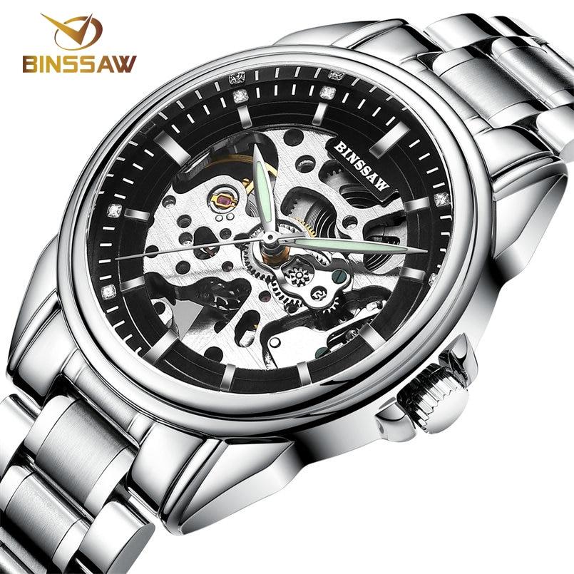 Ерлер BINSSAW Люкс Жаңа қара қара watch - Ерлердің сағаттары - фото 6