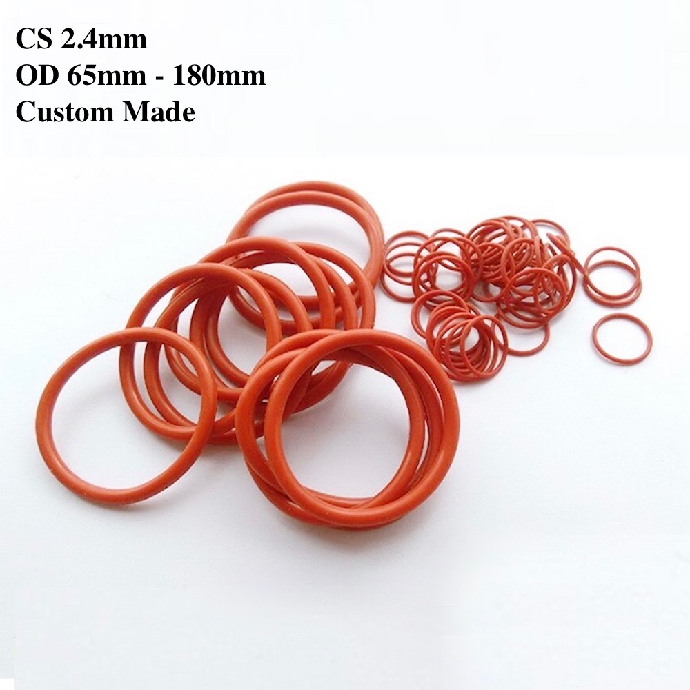 10x Vmq O Ring Seals Silicon Rubber Gasket M65 70/72/75/76/77/78/79/80/82/85/88/90/95/100/105/110mm Red M180 Od68mm Cs 2.4mm