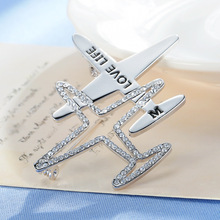 New Fashion Unisex Austria Rhinestone Hollow Out Plane Brooch Pin Airplane Brooches Accessories for Women Men Coat Jewelry Gift
