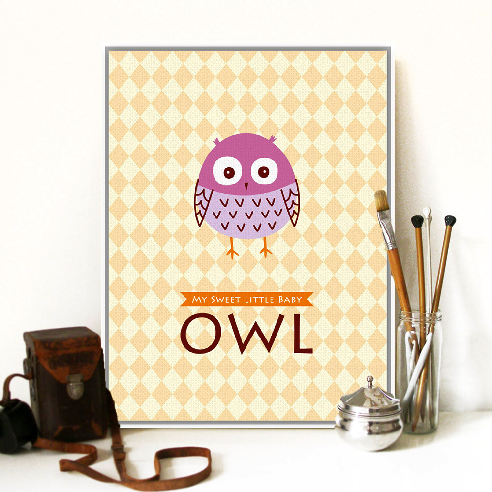 Modern Cute Owl Animal Bird Letter Drawing Poster Prints A4 Hipster ...