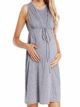 Women Pregnant dress Nursing Baby Nightgown Solid Color Breastfeeding Sleepwear Dress ropa de muje Maxi Gown maternity dresses