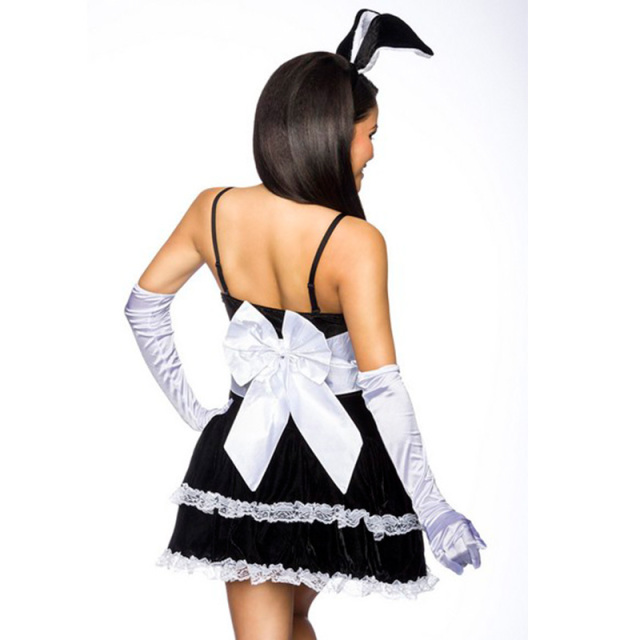 Black Bunny Girl Fancy Dress Costume Sexy French Maid