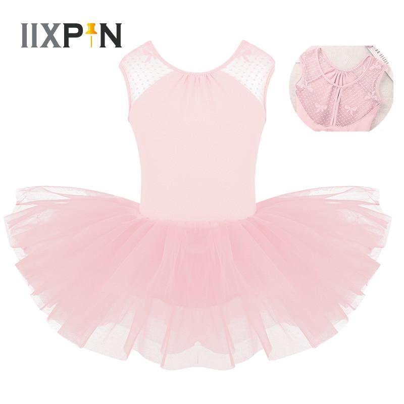 IIXPIN Kids Ballet Dress Girls Ballerina Professional Ballet Tutu Dress Sleeveless Lace Splice U-shaped Back Gymnastics Leotard