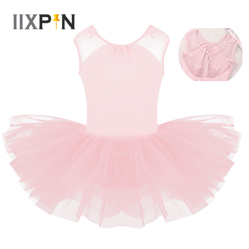 IIXPIN Kids Ballet Dress Girls Ballerina Professional Ballet Tutu Dress Sleeveless Lace Splice U-shaped Back Gymnastics Leotard